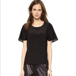Club Monaco Carly pearl beaded black silk blouse